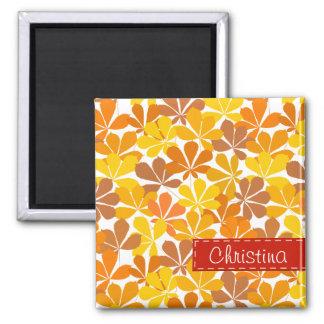 Chestnut tree autumn leaves refrigerator magnets