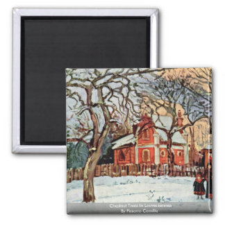 Chestnut Trees In Louveciennes By Pissarro Camille Square Magnet