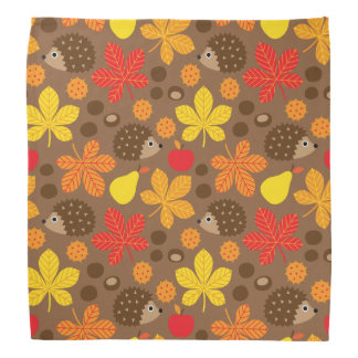 Chestnuts & Hedgehog Seamless Pattern Bandana
