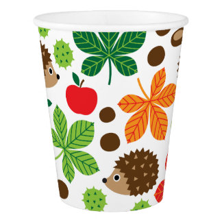 Chestnuts & Hedgehog Seamless Pattern Paper Cup