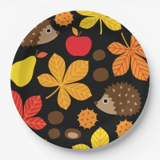 Chestnuts & Hedgehog Seamless Pattern Paper Plate