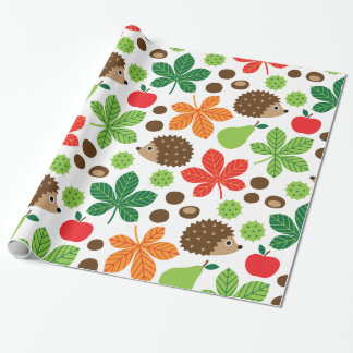 Chestnuts & Hedgehog seamless pattern (ver.1) Wrapping Paper