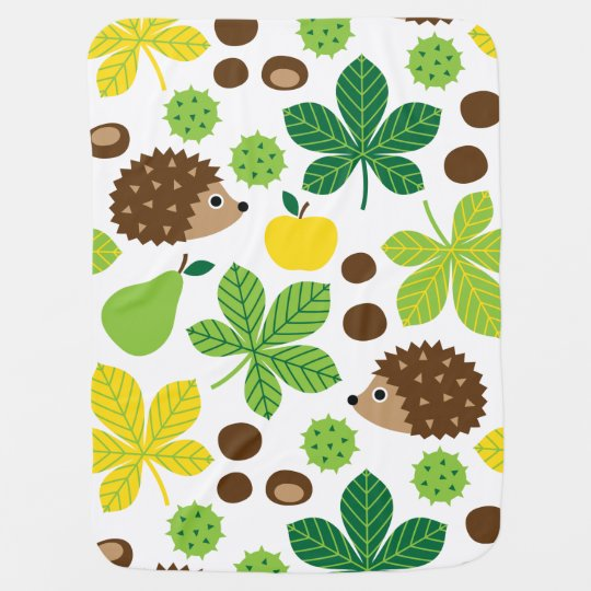 Chestnuts & Hedgehog seamless pattern (ver.5) Baby Blankets