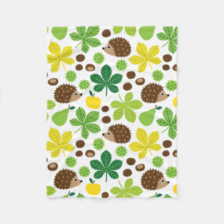 Chestnuts & Hedgehog seamless pattern (ver.5) Fleece Blanket