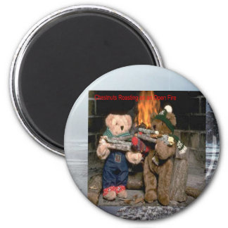 Chestnuts Roasting 6 Cm Round Magnet