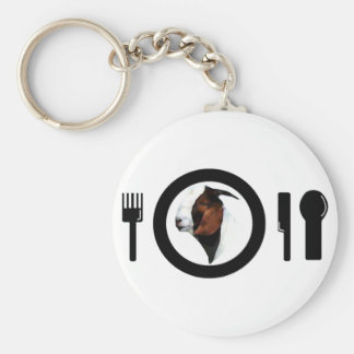 CHEVON ON THE DINNER PLATE (GOAT MEAT) BASIC ROUND BUTTON KEY RING