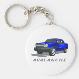 Chevrolet Avalanche Blue Basic Round Button Key Ring