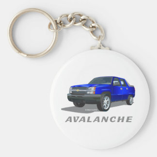 Chevrolet Avalanche Blue Basic Round Button Key Ring
