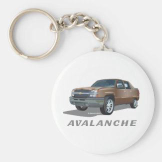 Chevrolet Avalanche Gold Basic Round Button Key Ring