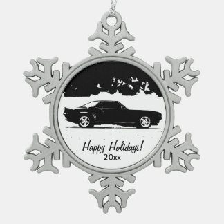 Chevrolet Camaro Rolling Shot Snowflake Pewter Christmas Ornament