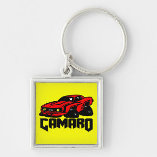 Chevrolet Camaro SS Silver-Colored Square Key Ring