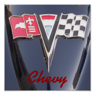Chevrolet Front Crossed Flag Fender Emblem Logo Poster