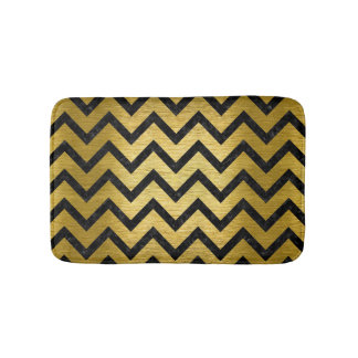 CHEVRON9 BLACK MARBLE & GOLD BRUSHED METAL (R) BATH MAT