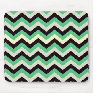 Chevron 02 zigzag black aqua mouse pads