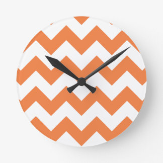 Chevron 1 Celosia Orange Round Clock