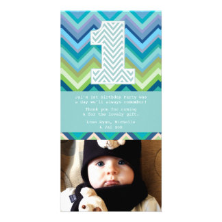 Chevron 1st Birthday Thank You Photo Card Note