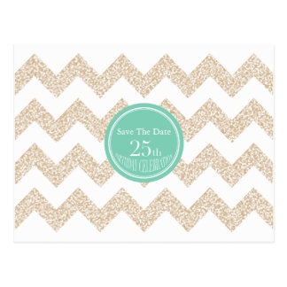 Chevron 25th Birthday Save the Date Choose Color Postcard