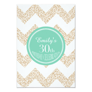 Chevron 30th Birthday Party Choose Color Flat Card