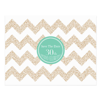 Chevron 30th Birthday Save the Date Choose Color Postcard