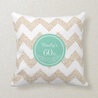 Chevron 60th Birthday Celebration Pillow with name