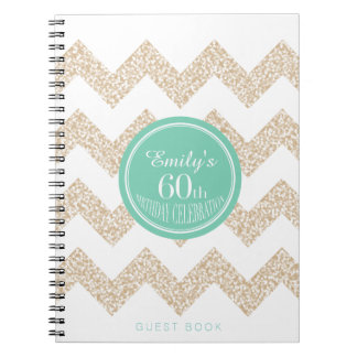 Chevron 60th Birthday Party GuestBook Choose Color Notebook