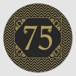 Chevron 75th Birthday Round Sticker