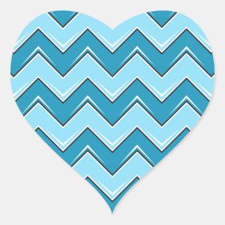 Chevron 8 Light Blue Heart Sticker