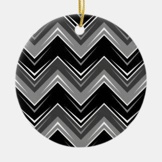 Chevron 9 Black and White Round Ceramic Decoration
