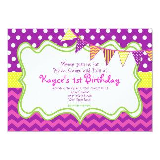 Chevron and Dots Pendant Birthday Invitation