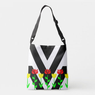 Chevron and Flowers Modern Floral Art Tote