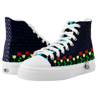Chevron and Flowers Modern Floral High Top Skate Printed Shoes