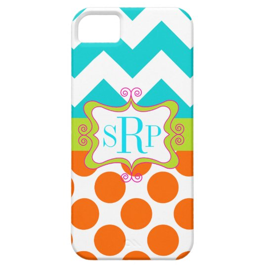 Chevron and Polka Dots Monogram Case For The iPhone 5
