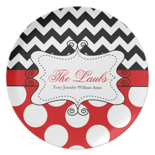 Chevron and Polka Dots Personalised Monogram Plate