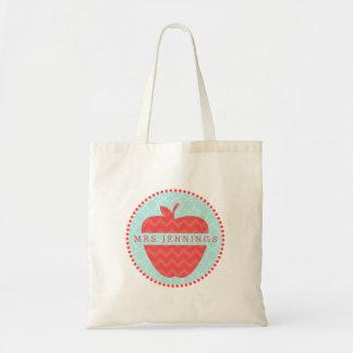 Chevron Apple Quatrefoil Personalized Teacher Bag
