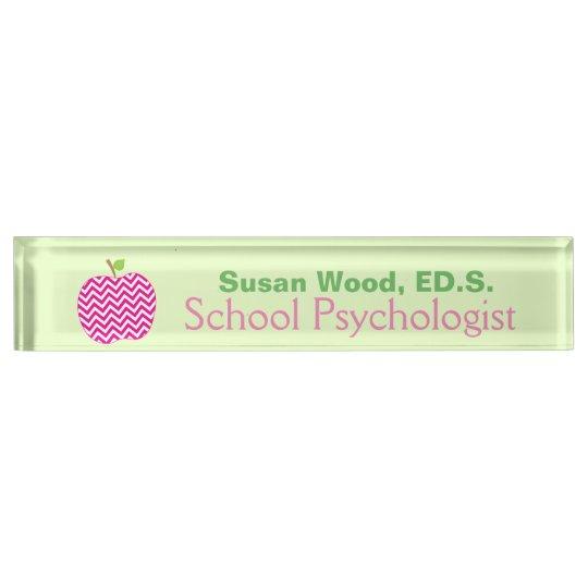 Chevron Apple School Psychologist Name Plate