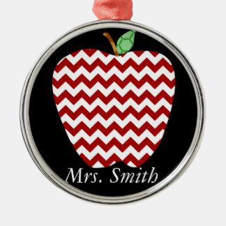 Chevron Apple Teachers Gift Christmas Ornament