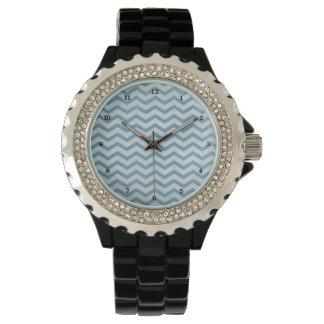 Chevron Aqua Blue Zig Zag Stripes Pattern Wristwatch