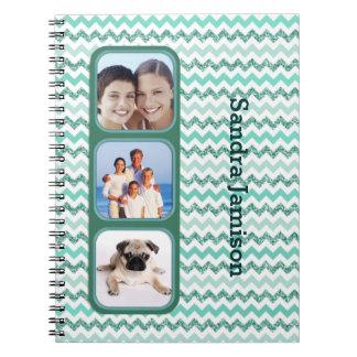 Chevron Aqua Triple Photo Journal Spiral Note Books