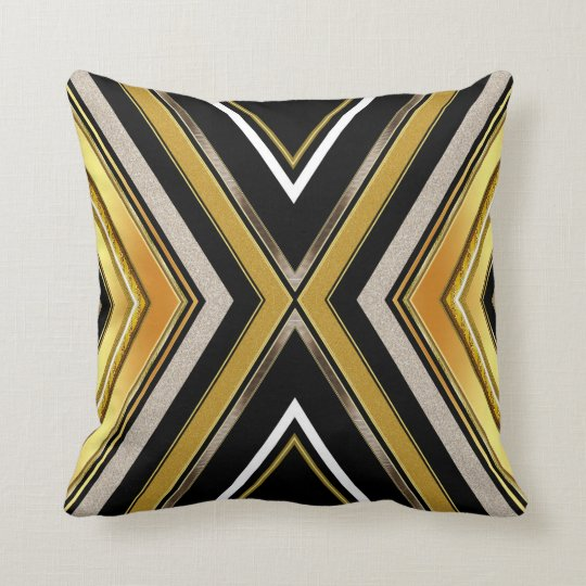 Chevron Art Deco Black Gold Cushion Pillow