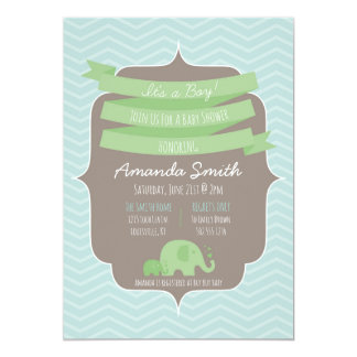 Chevron Baby Boy Baby Shower Invitation