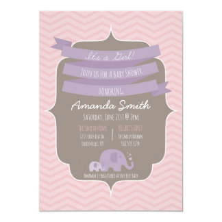 Chevron Baby Girl Baby Shower Invitation