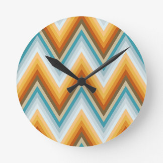 Chevron Background Pattern Round Clock