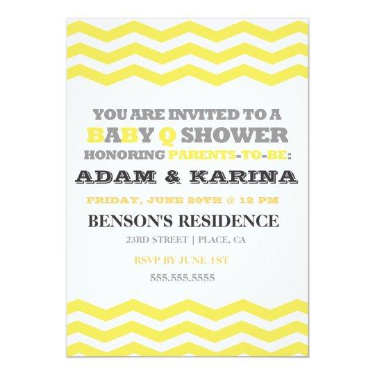 Chevron Barbecue BabyQ Baby Shower Invitation