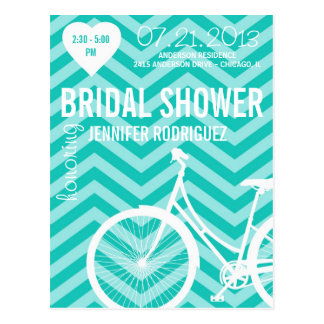 Chevron Bicycle Bridal Wedding Shower Postcard