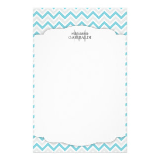 Chevron Blue and Modern Personalized Customized Stationery