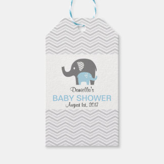 Chevron Blue Elephant Baby Shower Tag