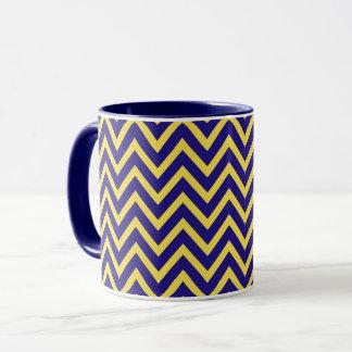 Chevron Blue Yellow Zig Zag Pattern Mug