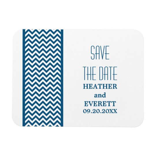 Chevron Border Save the Date Magnet, Blue Rectangular Photo Magnet
