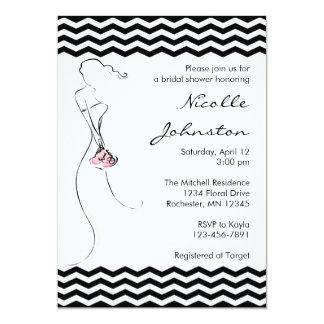 """Chevron Bride Pink Bridal Shower Invitations 5"""" X 7"""" Invitation Card"""