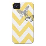 Chevron Butterflies Iphone Case | Yellow Grey iPhone 4 Case